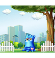A blue monster standing near the fence across the vector image