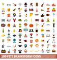 100 fete brainstorm icons set flat style vector image vector image