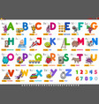 alphabet with cartoon characters and objects set vector image vector image