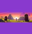 ancient mayan pyramids and moai statues at sunset vector image vector image