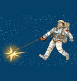 astronaut walks a star like a dog vector image vector image