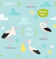 baby shower seamless pattern with cute storks vector image