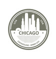 badge with chicago skyline - chicago city emblem vector image vector image