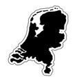 black silhouette of the country netherlands with vector image vector image