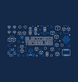 blockchain technology blue horizontal vector image