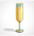 cartoon full glass of champagne drawing vector image vector image
