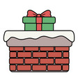 chimney with gift and snow decoration merry vector image vector image