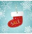 Christmas sock sale tag on a snowy background vector image vector image