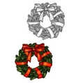 Christmas wreath sketch icon with red ribbon vector image vector image