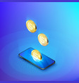 coin drops into mobile phone isometric banner vector image vector image