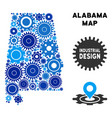 collage alabama state map of gears vector image