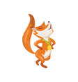 cute red fox obtain gold medal at modern sport vector image vector image