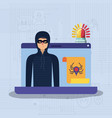 cyber security with laptop and hacker vector image vector image