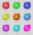 Cyclist icon sign A set of nine original needle vector image vector image