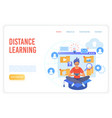 distance learning flat landing page vector image vector image