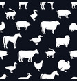 farm animals and poultry background black vector image
