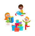 flat girl and boys with present box vector image vector image