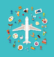 flat style icon set for tourism industry vector image vector image