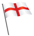 flying flag england st georges cross on flagpole vector image vector image