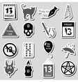 friday the 13 bad luck day stickers set eps10