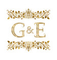 g and e vintage initials logo symbol vector image vector image