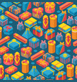 gift boxes in seamless pattern vector image