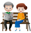 grandfather and grandmother sitting on the seat vector image