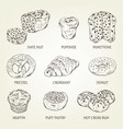 graphic sketch of different pastry products vector image vector image
