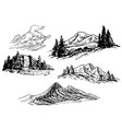 hand-drawn mountains vector image vector image