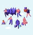 happy people citizen wearing warm clothes prepare vector image