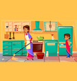 indian housewife cleaning kitchen vector image