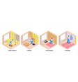 isometric repairs compositions set vector image vector image
