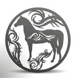 laser die cuttin horse with tribal in a circle vector image vector image