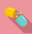 medical capsule icon flat style vector image vector image
