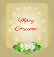 Merry Christmas decoration gold frame with flower vector image