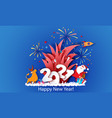 new year advertising design santa claus with bull vector image
