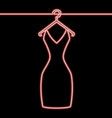 one line woman dress on hanger neon concept vector image