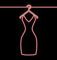 one line woman dress on hanger neon concept vector image