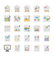 reports and diagrams icons pack vector image vector image