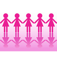Row of women silhouettes holding hands vector image