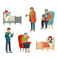 sick people kids adult and old persons with flu vector image