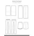skirt pants set fashion flat technical drawing vector image