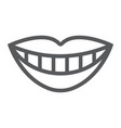 smile with white tooth line icon stomatology vector image