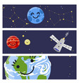 Space landing planets spaceship cards design