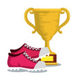sport trophy cup champions with tennis vector image vector image