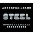 Steel font Metal alphabet Metallic shimmering vector image vector image