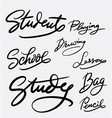 study and student hand written typography vector image