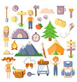 summer kids camping flat cartoon set of vector image