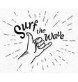 surf wave retro black and white vector image