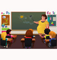 teacher teaching in a classroom vector image vector image